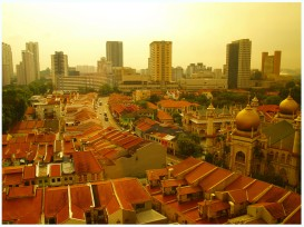 My first morning in Singapore. Looking down on the Masjid Sultan