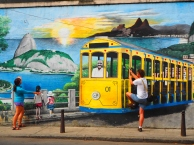 Santa Teresa (a mural and a picture of the yellow tram we took the next day)