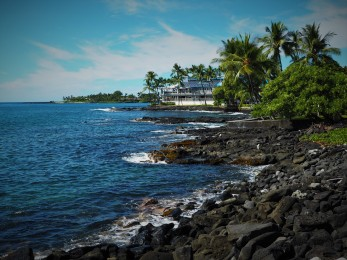 The view of the beach in Kona