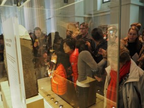 everyone amazed at the Rosetta Stone