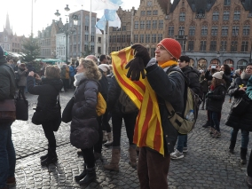 Catalonian protesters supporting their leader in Belgium